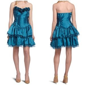 Betsey Johnson Teal Prom Strapless Dress